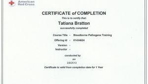 Bloodborne Pathogens Certificate Template Certifications Bratton Clinic