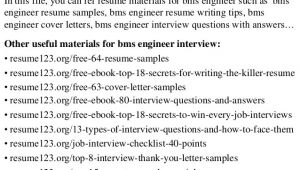 Bms Engineer Resume top 8 Bms Engineer Resume Samples