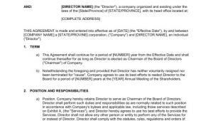 Board Of Directors Contract Template Agreement for Chairman Of Board Of Directors Template