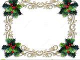 Border Design for Christmas Card Christmas Border Holly Gold Frame Stock Illustration