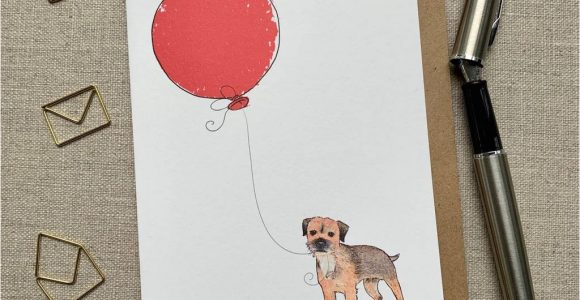 Border Terrier Thank You Card Personalised Border Terrier Birthday Card