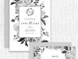 Border Wedding Card Clip Art Black and White Watercolor Flowers Clipart Gray Monochrome