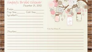 Bridal Shower Recipe Cards Templates Custom Printable Rustic Vintage Mason Jars Bridal Shower