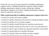 Building Maintenance Engineer Resume top 8 Building Maintenance Engineer Resume Samples