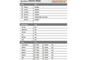 Building Specification Template 17 Specification Sheet Templates Sheet Templates