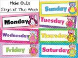 Bulletin Board Calendar Template Days Of the Week Calendar Cards Owl Polka Dot Hobo Stitched