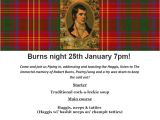 Burns Night Menu Template forest Hill society Burns Night Party Fri 25th January