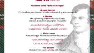 Burns Night Menu Template January 2013