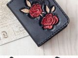 Business Card Holder for Women Slim Wallet Leather Business Card Case for Woman Black