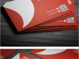 Business Card with Qr Code Clean Red Corporate Business Card Template with Embedded Qr