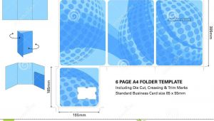 Business Folders with Business Card Slot Six Page A4 Presentation Folder Template with Die Cut and