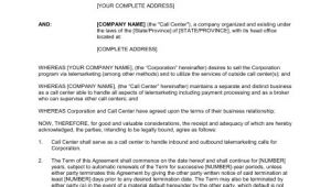 Call Center Agent Contract Template Call Center and Telemarketing Agreement Template