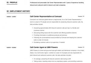 Call Center Resume Examples and Samples 12 Call Center Representative Resume Sample S 2018 Free