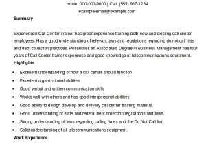 Call Center Resume Examples and Samples Call Center Resume Template Learnhowtoloseweight Net