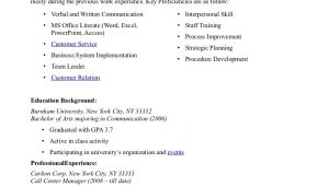 Call Center Resume Sample Call Center Resume Samples Sample Resumes