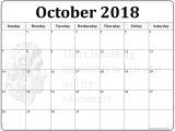 Calnedar Template October 2018 Calendar 56 Templates Of 2018 Printable