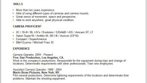 Camera Operator Resume Sample Media Arts Resume Examples