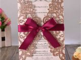 Card Box for Wedding Invitation Us 67 0 50pcs Rose Gold Glitter Laser Cut Wedding Invitation Cards with Burgundy Ribbon and Envelopes for Bridal Shower Engagement Party Cards