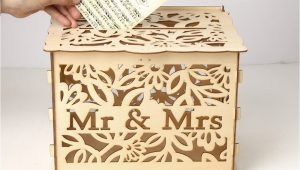 Card Box for Wedding with Lock Elegant Wedding Card Box with Lock Hollow Out Wooden Wishing