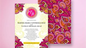 Card Design for Indian Wedding Indian Wedding Invitation Colorful and Festive Pink Yellow