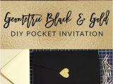 Card Design for Wedding Invitations My Diy Story Geometric Black Gold Foil Pocket Invitation