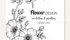Card Flower Black and White Rose Flower Frame Drawing Illustration for Invitation and