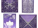 Card Inserts for Handmade Cards 10 Kits Purple Elegant Laser Cut Wedding Invitation Cards