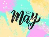 Card Invitation Template Free Download Hello May Text Hand Lettering Typography Vector Illustration