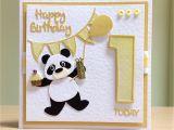 Card Message for 1st Birthday First Birthday Card Handmade Marianne Panda Die tonic