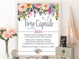Card Message for 1st Birthday Time Capsule Floral Baby Shower Table Sign Decoration Girls