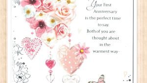 Card Messages for 1st Wedding Anniversary Details About First 1st Wedding Anniversary Card with