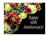 Card Messages for 50th Wedding Anniversary Happy 50th Anniversary Roses Postcard Zazzle Com with