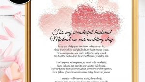 Card to Groom On Wedding Day Bride to Groom Gifts Wedding Day Poem Husband Wedding