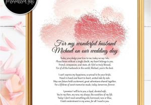 Card to Husband On Wedding Day Bride to Groom Gifts Wedding Day Poem Husband Wedding
