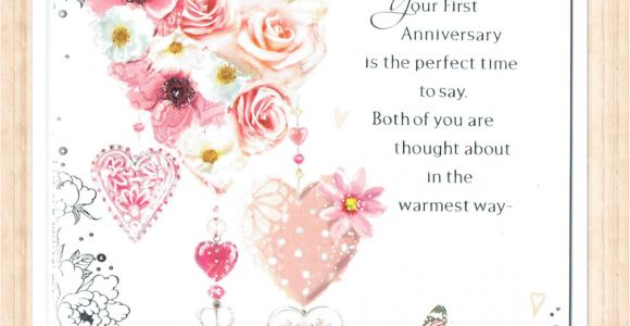 Card Verses for First Wedding Anniversary Details About First 1st Wedding Anniversary Card with