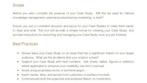 Case Study Structure Template Case Study Template