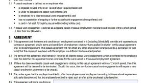 Casual Contract Of Employment Template Sample Casual Employment Agreement 8 Documents In Pdf Word