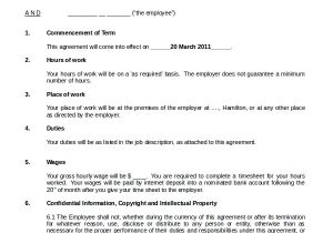 Casual Employee Contract Template Sample Casual Employment Agreement 8 Documents In Pdf Word