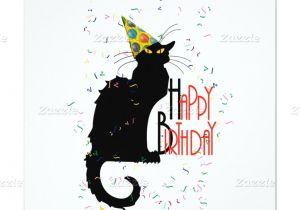 Cat Singing Happy Birthday Card Le Chat Noir Happy Birthday Invitation Zazzle Com
