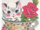 Cat Singing Happy Birthday Card Pin On Vintage Greeting Cards Mother S Day Father S Day