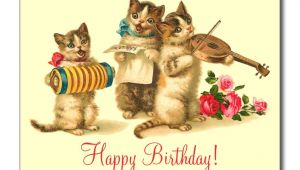 Cat Singing Happy Birthday Card Vintage Funny Cats Singing Happy Birthday Postcard Zazzle Com
