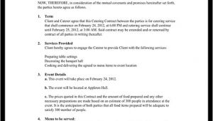 Catering Contracts Templates Catering Contract Catering Contract Template with Sample