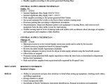 Central Service Technician Resume Sample Central Supply Technician Resume Samples Velvet Jobs
