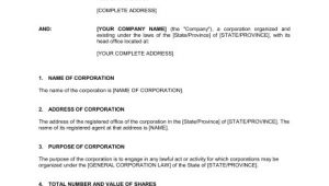 Certificate Of Incorporation Template Word Certificate Of Incorporation Template Sample form