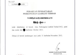 Certificate Of Partnership Template Limited Liability Partnership