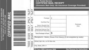 Certified Mail Receipt Template Domestic Mail Manual S912 Certified Mail