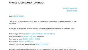 Change Of Contract Letter Template Employment Contract Notification Of Change Letter
