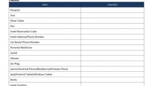 Checklist Template Word 2013 Plane Travel Checklist Template