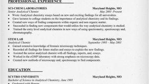 Chemist Cv Template Analytical Chemist Cv Examples Please Help