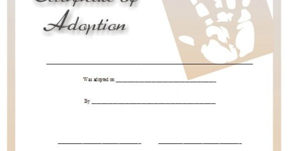 Child Adoption Certificate Template Fake Child Adoption Certificate Template Free Sample